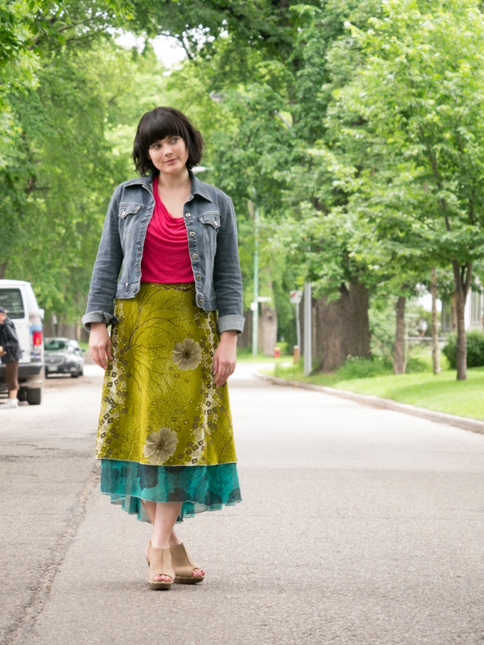 personal style fashion wrap skirt hot pink turquoise olive clogs anthropologie thrifted ruby slipper jeans jacket winnipeg