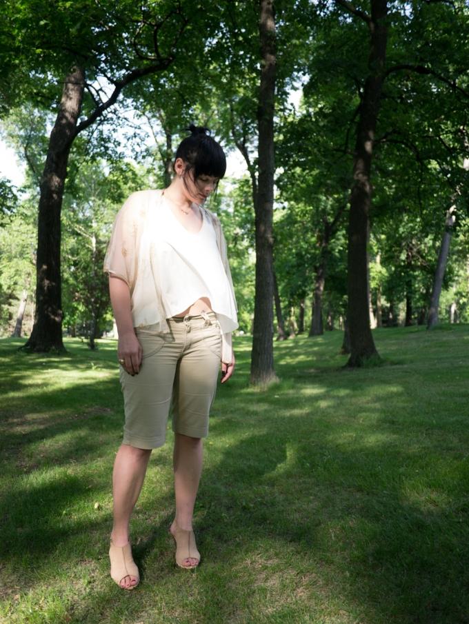 monochrome cream, long shorts, lace top, clogs